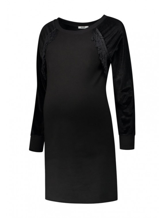 Love2Wait Zwangerschaps Dress Velvet Sleeves Black