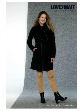 Love2Wait  Zwangerschaps Coat Double Zipper Navy