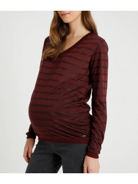 Love2Wait Zwangerschaps Shirt Striped Burgundy