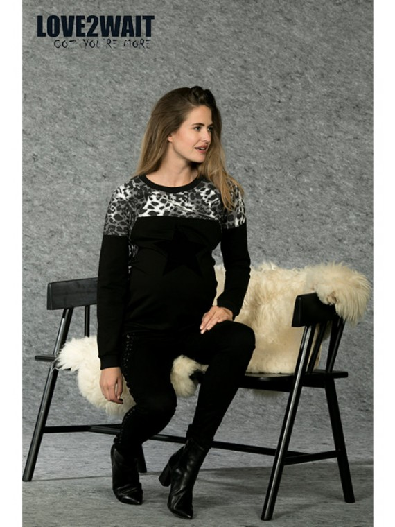 Love2Wait Zwangerschaps Nursing Sweater Animalprint
