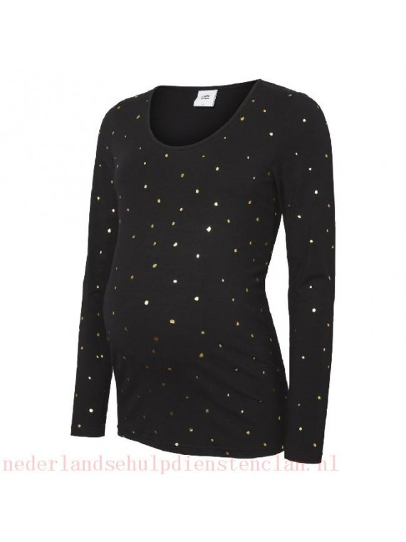 Mamalicious Zwangerschaps  Jersey Top Dallas Black/Gold
