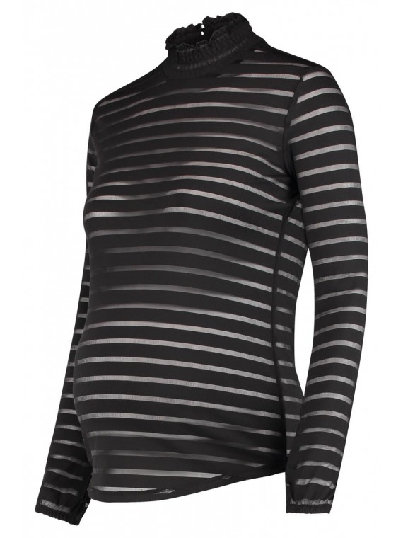 Supermom Zwangerschaps Longsleeve Striped Mesh Black