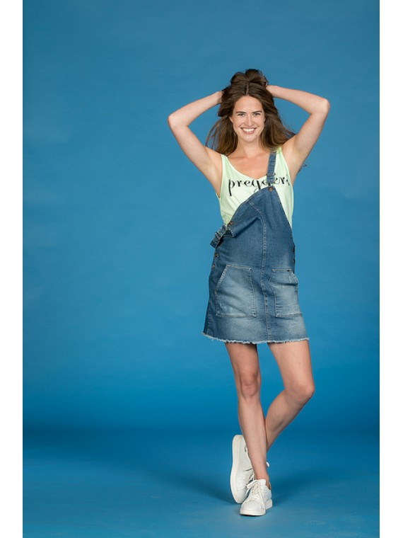 Love2Wait Zwangerschaps Dress Dungaree Denim