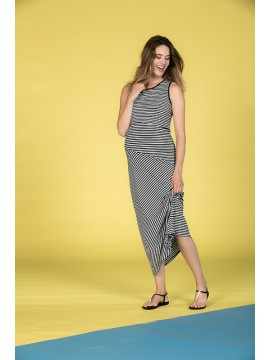 Love2Wait Zwangerschaps Maxi Dress Nursing Striped