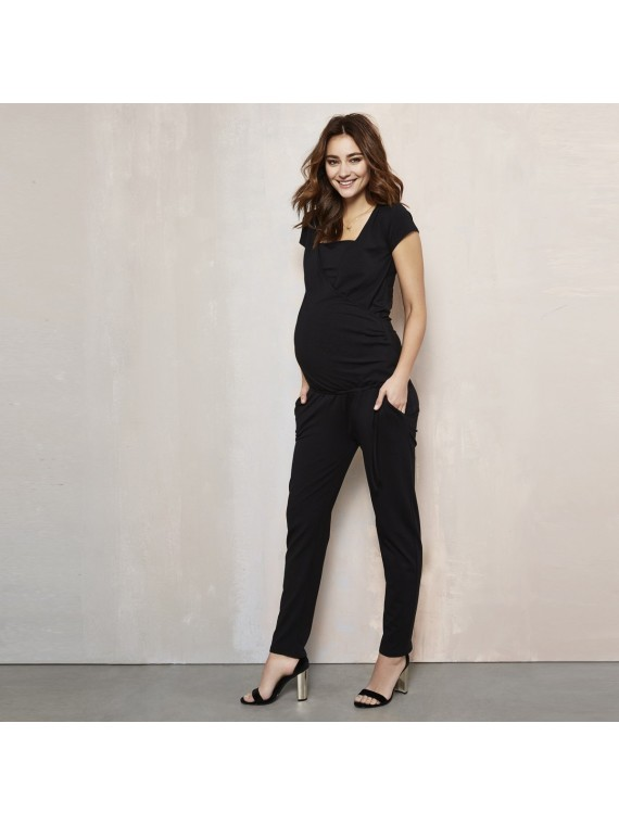 Love2Wait Zwangerschaps Nursing Jumpsuit Black