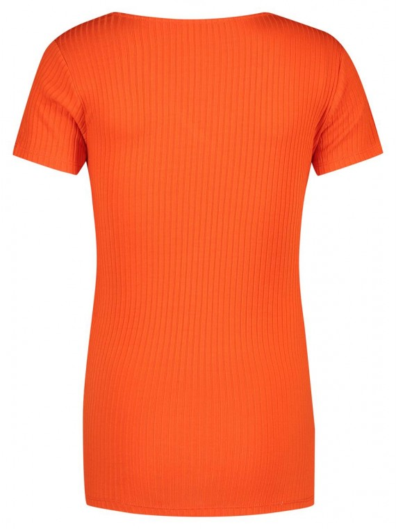 Supermom Zwangerschaps T-shirt Crossed Rib Nursing Orange