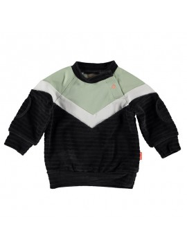 Bess Sweater Velvet Colorblock Anthracite