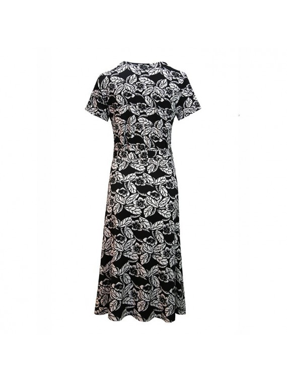 Love2Wait Zwangerschap Nursing Dress Flower Dessin Black