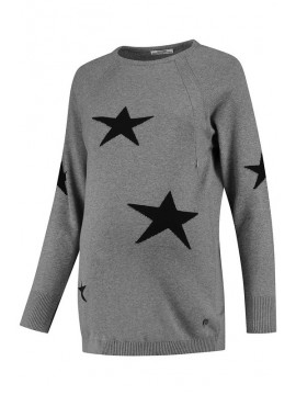 Love2Wait Nursing Sweater Stars Grey