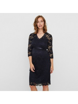Mamalicious Zwangerschaps Dress Lace Mivana Navy