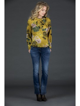 Love2Wait Zwangerschaps Blouse Flower Ocre