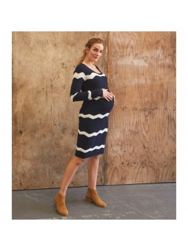 Mamalicious Zwangerschaps Dress Doria Navy/Snow White