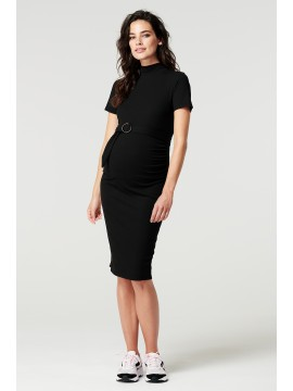 Supermom Dress Rib Black Korte Mouw