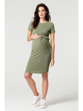 Supermom Dress Stripe Dusty Olive